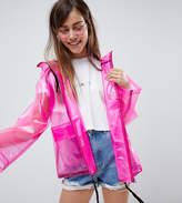 Asos DESIGN Petite Rain Jacket With Contrast Binding