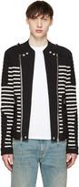 Balmain Black and White Striped Biker Sweater
