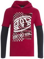 Animal Boys' Long Sleeve Hooded T-Shirt, Red