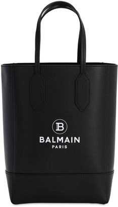 Balmain Logo Printed Leather Tote Bag