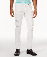 Versace Men's Slim-Fit White Ripped Jeans