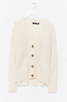 Nasty Gal Womens Knit's Not the Time Relaxed Cardigan - Oatmeal