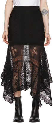 Alexander McQueen Black Patchwork Lace Knit Skirt