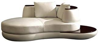 Vig Furniture Divani Casa Rodus Rounded Leather Chaise With Wood Trim