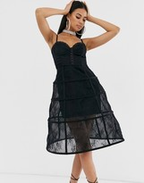Asos Design DESIGN Premium lace corset detail cage midi dress