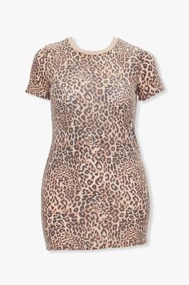 Forever 21 Leopard Print T-Shirt Dress