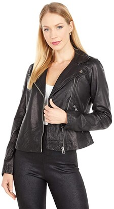 Madewell Washed Leather Motorcycle Jacket (True Black) Women's Clothing