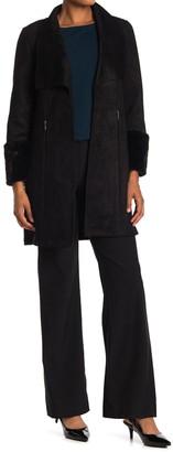 T Tahari Faux Suede & Faux Fur Cuff Coat