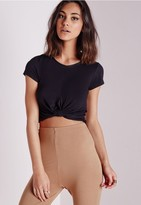 Missguided Knot Front Capped Sleeve Crop Top Black