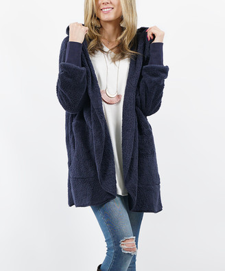 Lydiane Women's Non-Denim Casual Jackets NAVY - Navy Faux Fur Pocket Cocoon Hooded Jacket - Women