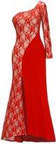 Ruiyige Women One Shoulder Side Split Floor-Length Lace Maxi Dress Evening Dress M