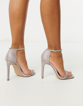 Steve Madden Collette strappy heeled sandal in blush glitter