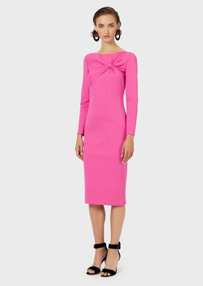 Emporio Armani Milano-Stitch Dress With Front Knot