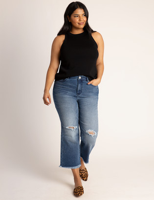ELOQUII Distressed Ankle Flare Jean