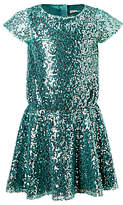 John Lewis Girls' All-Over Sequin Dress, Green
