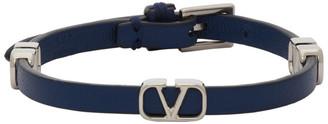 Valentino Blue Garavani Calfskin VLogo Bracelet