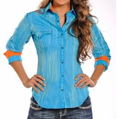Rock & Roll Cowgirl Striped and Embroidered Western Shirt - Snap Front, Long Sleeve (For Women)