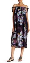 Cynthia Rowley Silk Metallic Leaf Maxi Swing Dress