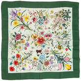 One Kings Lane Vintage Gucci 100% Silk Green Twill Floral Scarf