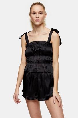 Topshop Black Satin Ruched Cami Pyjama Set