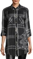 Tolani Tina Mixed-Media Plaid Tunic, Plus Size