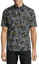 Michael Kors Drake Slim-Fit Camouflage Check Cotton Shirt, Green