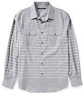 Perry Ellis Horizontal Engineered Stripe Long-Sleeve Woven Shirt