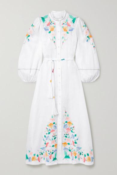 Zimmermann Fiesta Belted Embroidered Linen Maxi Dress - Ivory