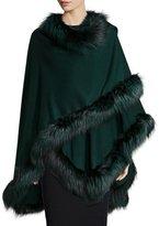 Bergdorf Goodman Fox-Fur-Trim Cashmere Cape, Green