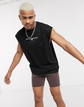 Asos DESIGN oversized sleeveless t-shirt with city flag print