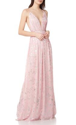 Theia Foil Print Chiffon Gown
