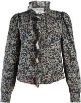 Etoile Isabel Marant Tauren abstract-print ruffle-trimmed linen blouse
