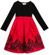 Rare Editions Black Velvet & Flocked Skirt Dress, Big Girls (7-16)