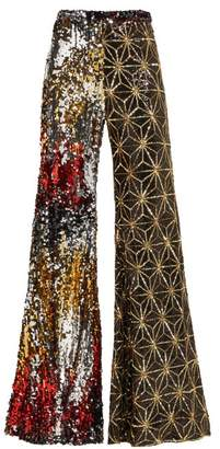 Halpern Sequinned Flared Trousers - Womens - Gold Multi
