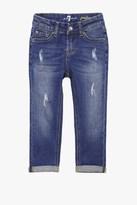 7 For All Mankind Girls 4-6x Josefina 5-Pocket Skinny Boyfriend Stretch Denim Jeans In Royal Broken Twill