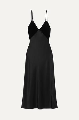 Cushnie Silk-satin And Velvet Midi Dress - Black