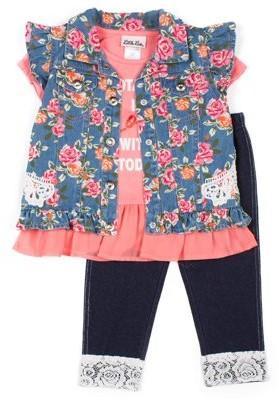 Little Lass Floral Printed Denim Vest, Chiffon Hem Top and Knit Denim Legging, 3-Piece Outfit Set (Little Girls)