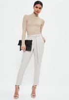 Missguided Grey Satin Side Zip Hem Cigarette Trousers