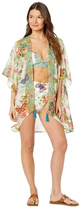 Johnny Was Holly Short Kimono Cover-Up (Multi) Women's Swimwear