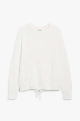 Monki Knitted drawstring sweater