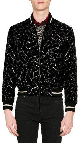 47e5bc603 Men's Teddy Embroidered Velvet Bomber Jacket