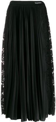 Valentino Pleated Lace Detailed Skirt