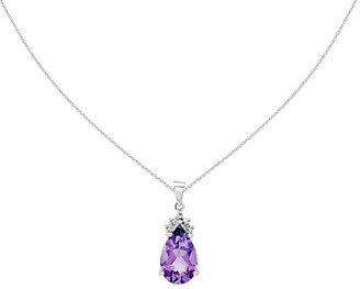 Pear Shaped Gemstone Pendant with Chain, 14K White Gold