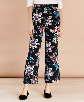 Brooks Brothers Floral-Print Cropped Wide-Leg Pants