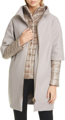 Herno Wool Blend Cocoon Coat with Removable Sleeves & Bib
