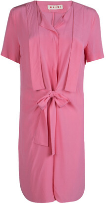Marni Pink Silk Short Sleeve Waist Tie Detail Dress M
