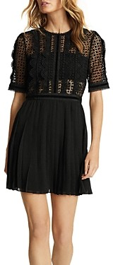 Reiss Athena Lace Top Pleated Mini Dress