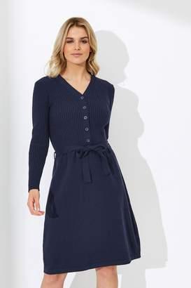 Yumi Womens Knitted Shirt Dress - Blue