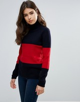 Wood Wood Joyce Stripe Wool Turtleneck Sweater