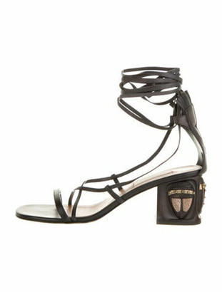 Valentino Leather Gladiator Sandals Black
